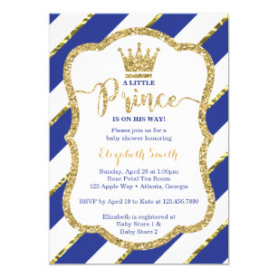 Little Prince Baby Shower Invite Faux Glitter Invitation