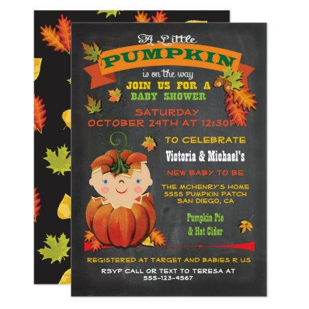Little Pumpkin Baby Shower Fall Invitations
