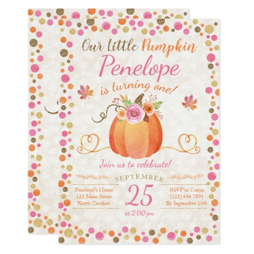 Little Pumpkin Birthday Invitation, Autumn Fall Invitation