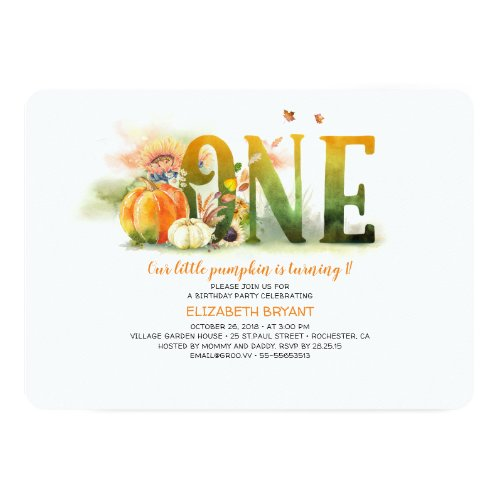 Little Pumpkin Fall 1st Birthday Party Invitation