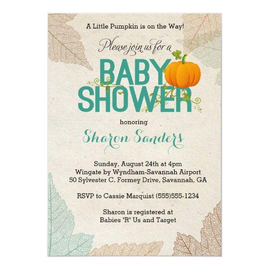 Little Pumpkin Fall Themed Baby Shower Invitation