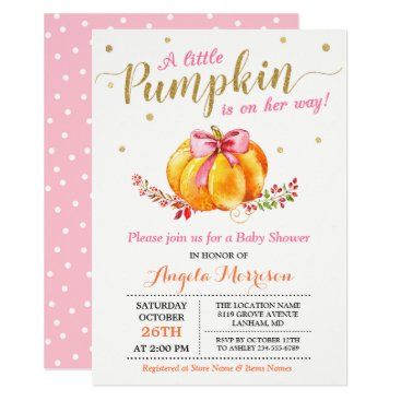 Little Pumpkin Girl Gold Pink Fall Baby Shower Invitation