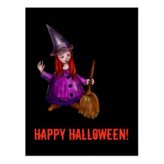 Little red-haired witch postcard