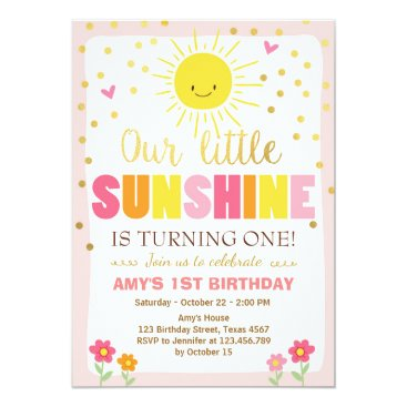 Little sunshine Birthday invitation Pink Gold Girl