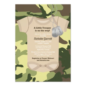 Little Trooper Army or Military Camo Baby Shower Card