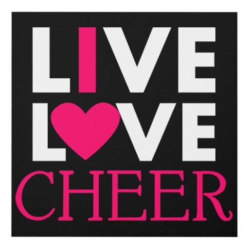 Download Live Love Cheer Wall Panel - Black | Zazzle