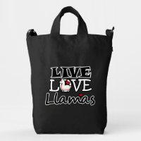 Live, Love, Llamas Duck Bag