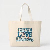 Live, Love, Llamas Large Tote Bag