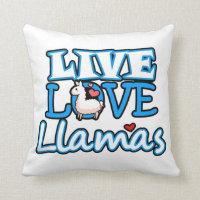 Live, Love, Llamas Throw Pillow