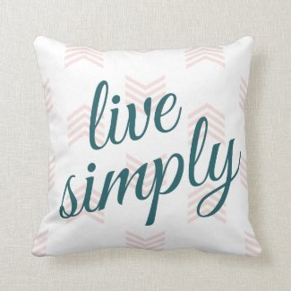 Live Simply Script Typography Chevron Navy Blue Pillow