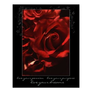 Live Your Passion Rose Poster