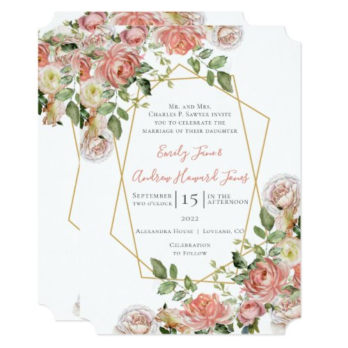 Living Coral Floral Rose Gold Geometric Frame Invitation