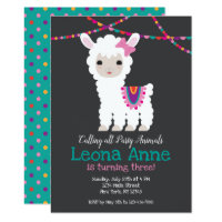 Llama Alpaca Birthday Invitation