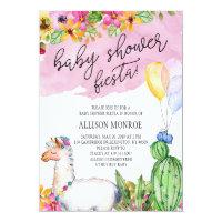 Llama and Cactus Baby Shower Fiesta Invitation