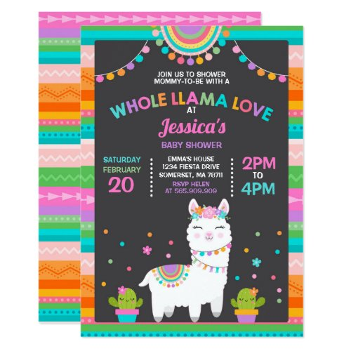 llama Baby Shower Invitation Whole Llama Love Baby