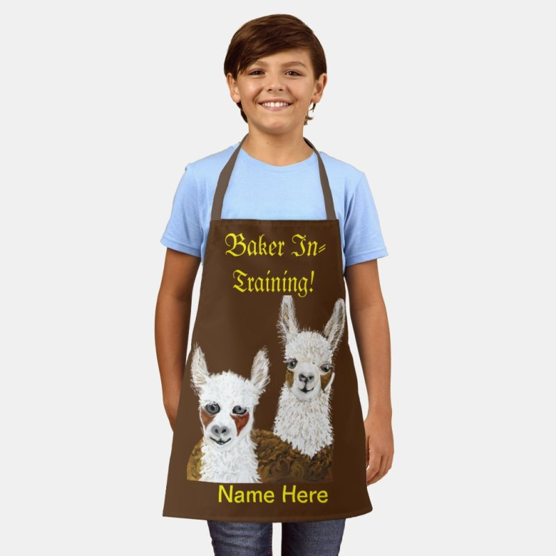 Llama Baker In Training and  (Name Here) Kids Apron