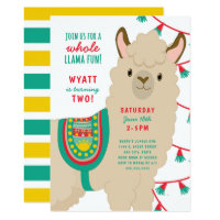 Llama birthday party invitation, neutral gender card