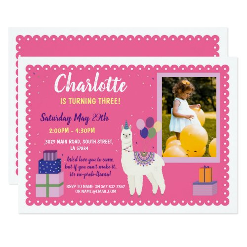 Llama Birthday Photo Party Presents Pink Invite