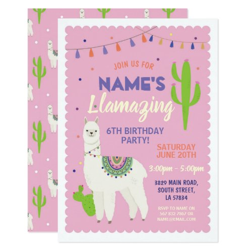 Llama Birthday Pink Tassels Cactus Invite