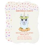 Llama-corn 7th Birthday Party Invitation