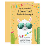 ❤️ Llama Fiesta Birthday Alpaca Fiesta Yellow Girl Invitation