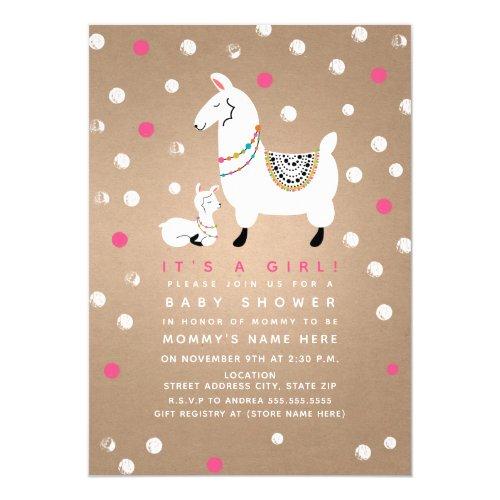 Llama Girl Baby Shower Invitation