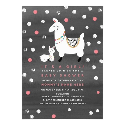Llama Girl Watercolor Baby Shower Invitation