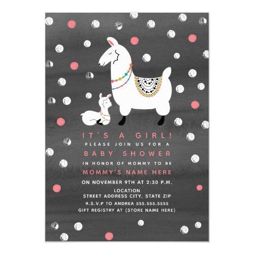 Llama Girl Watercolor Baby Shower Invitation