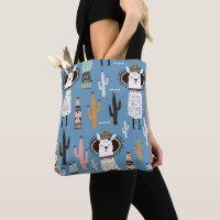 Llama In Sombrero in Blue Print Tote Bag