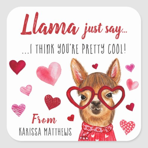 Llama Just Say | Personalized Valentine Stickers