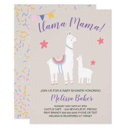 Llama Mama Baby Llama Cute Baby Shower Invitation