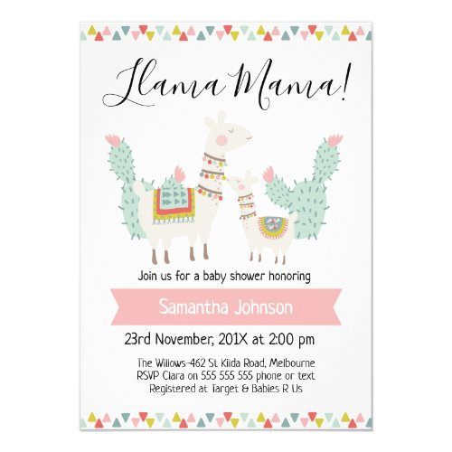 llama Mama LLama Baby Shower Invitation
