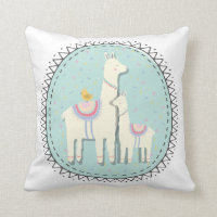 llama momma and baby pillow