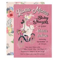 llama Momma baby shower invitations