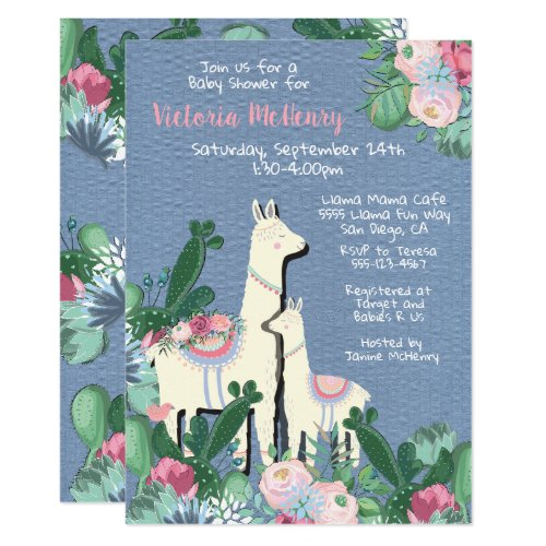 llama momma Fiesta baby shower invitations