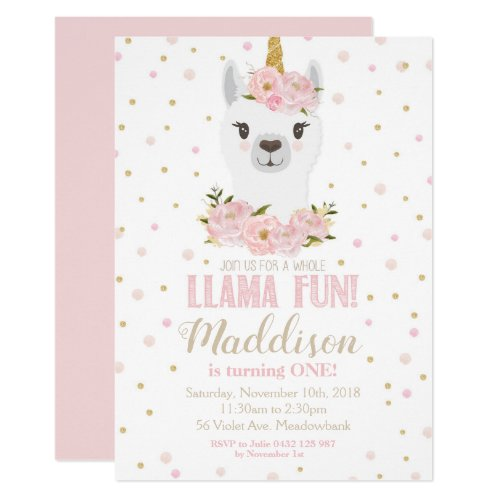 Llama Unicorn Birthday Invitation Blush Floral