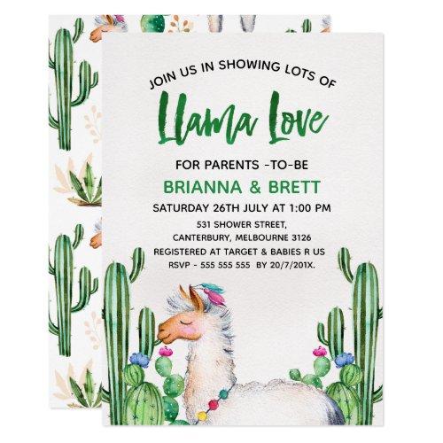 Llama Watercolor Baby Shower Invitation