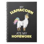 Llamacorn ate homework School Gift LLama Unicorn Notebook