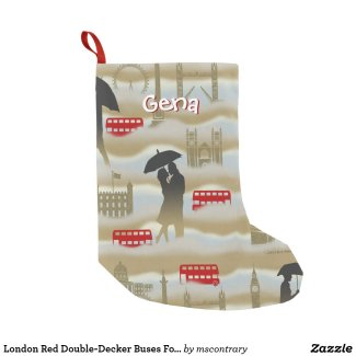 London Red Double-Decker Buses Fog Umbrellas Small