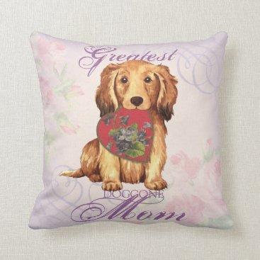 Longhaired Dachshund Heart Mom Throw Pillow