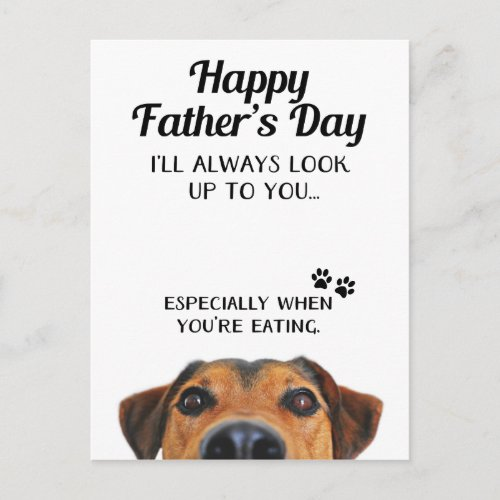 Look Up To You Funny Fathers Day Postcard From Dog