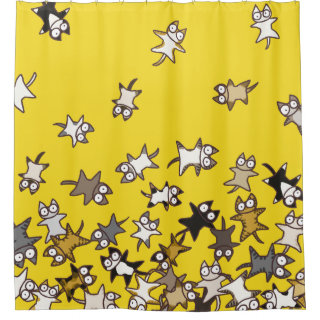 Lots of cats Yellow Shower Curtain