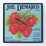 ❤️ Louisiana Stawberry Crate Label Square Wall Clock