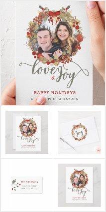 Love and Joy Christmas Wreath Holiday Set