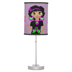 Love And Peace Funky Hippy Chick Illustration Table Lamps