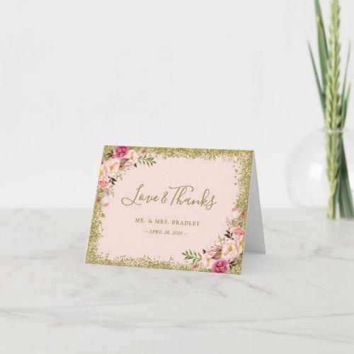 Love and Thanks Blush Pink Gold Glitter Floral Thank You Card