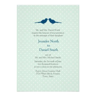 Love Birds And White Polka Dot Mint Wedding Invite