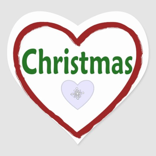 Love Christmas Heart Stickers