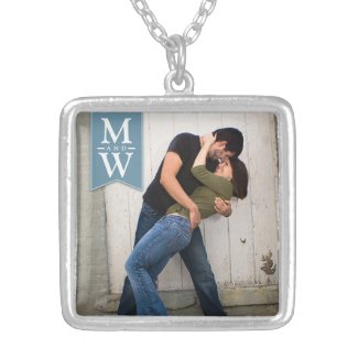 Love Couple Photo & Initials Monogram Necklace