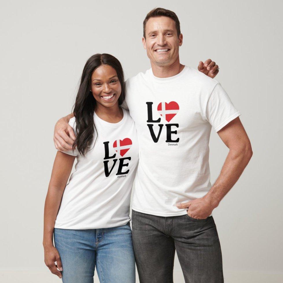 Love Denmark Couple T-Shirt
